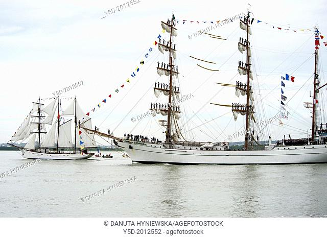 Armada 2013 - cruise of biggest sailing vessels on Seine river from Rouen to Atlantic Ocean, here in front Cuauhtémoc - Mexican three-masted barque passing...