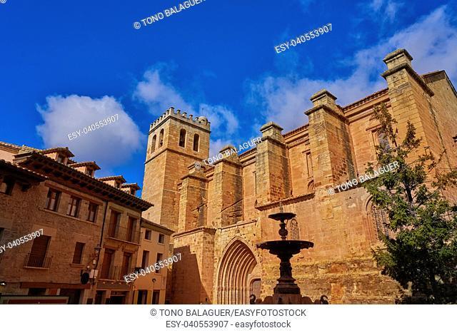 Mora de Rubielos village church in Teruel Spain located on Gudar Javalambre Sierra