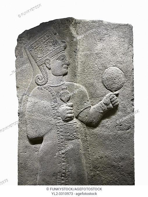 Hittite relief sculpted orthostat stone panel of Long Wall Basalt, Karkamıs, (Kargamıs), Carchemish (Karkemish), 900 - 700 B. C