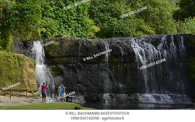 Guam USA Territory Talofofo Falls waterfalls in Talofofo in south east Guam cool and relaxing with tourists