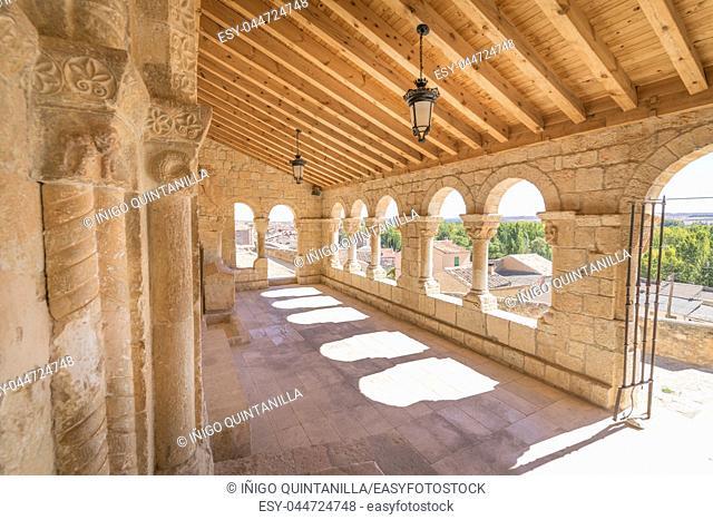 arcaded portico and entry to church Santa Maria del Rivero, romanesque style landmark and public monument from twelfth century, in San Esteban de Gormaz, Soria