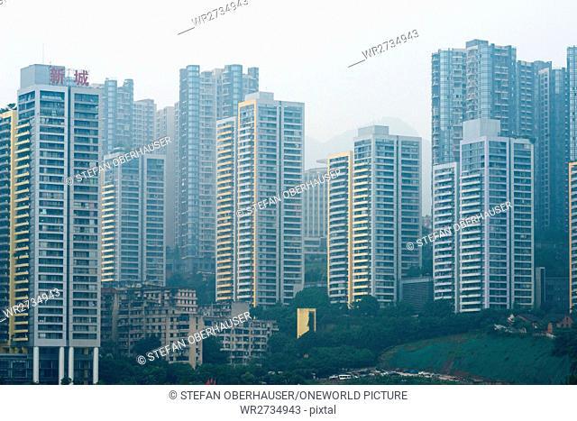 China, Chongqing, high-rise frontage at Yangtze