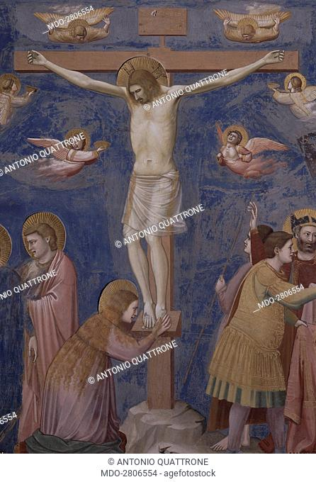 Crucifixion (Crocifissione), by Giotto, 1303-1305, 14th Century, fresco. Italy, Veneto, Padua, Scrovegni Chapel. After restoration picture. Detail