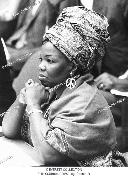 Mrs. Jeanne Martin Cisse, wears peace symbol earrings at the U.N. Security Council. Nov. 16, 1972. She was Guinea's Ambassador to the United Nations