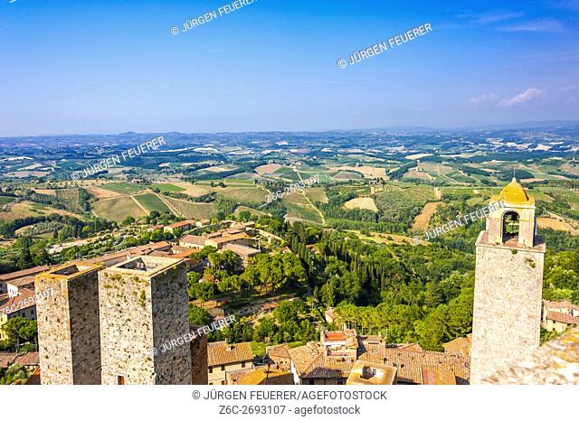 Panorama view of Torre Grosso, highest tower of the town San Gimigano, Tuscany, Italy