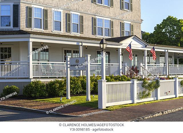 The front entrance and veranda of the Harbor View hotel in Edgartown, Massachusetts on Martha's Vineyard