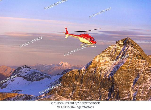 Aerial view of helicopter in flight towards Pizzo Scalino at sunset, Valmalenco, Valtellina, Lombardy, Italy