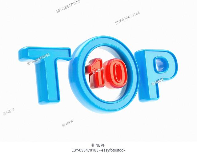 Top ten emblem symbol isolated on white