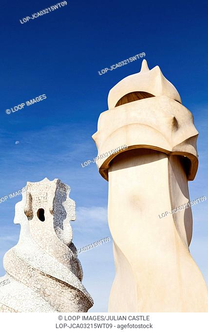 Abstract chimney sculptures on the rooftop of La Pedrera house in Barcelona