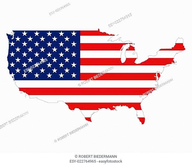 Karte und Fahne der USA