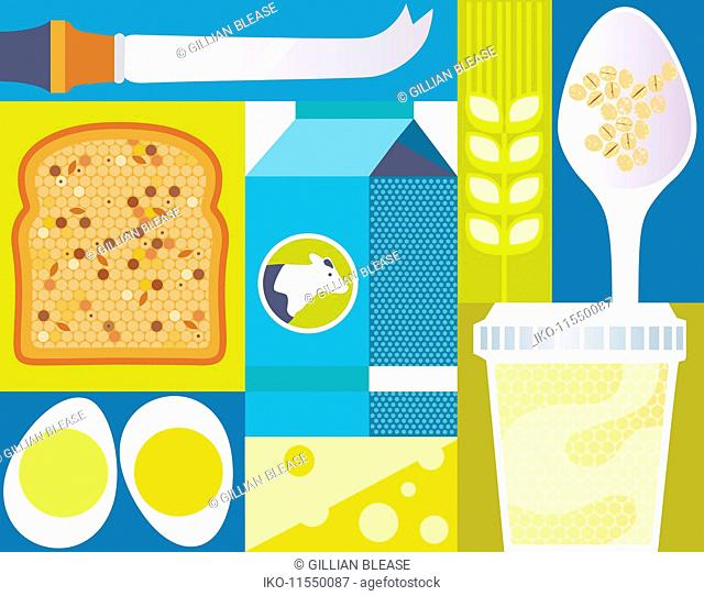 Close up of wholegrain bread, eggs and dairy products