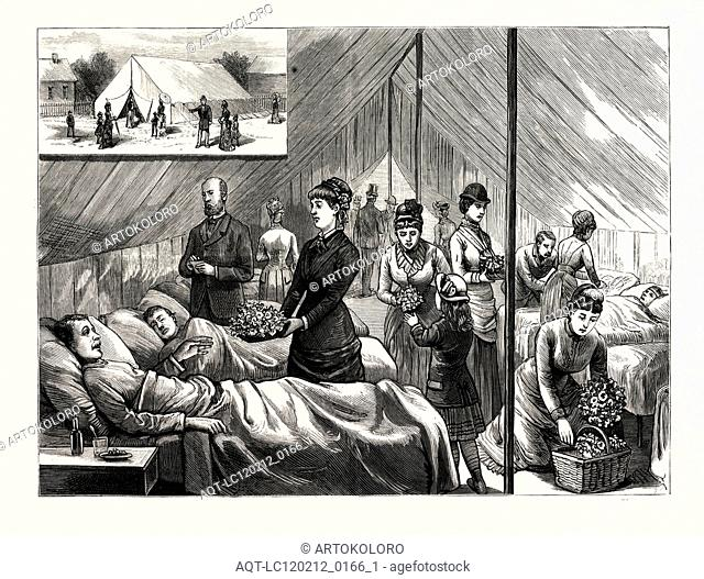 NEW YORK: LADIES OF THE FLOWER AND FRUIT MISSION WAITING UPON PATIENTS, IN THE HOSPITAL TENT ON NINETY-NINTH STREET