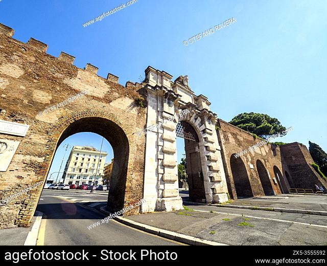 Porta San Giovanni is a gate in the Aurelian Wall of Rome - Rome, Italy