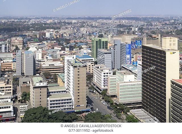 Africa. Kenya. Nairobi, Modern buildings downtown Nairobi