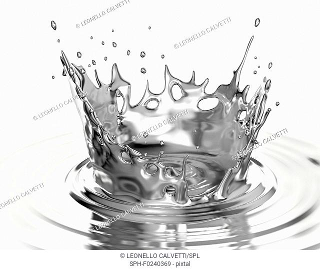Liquid metal crown splash in liquid metal pool with ripples. Isolated on white background