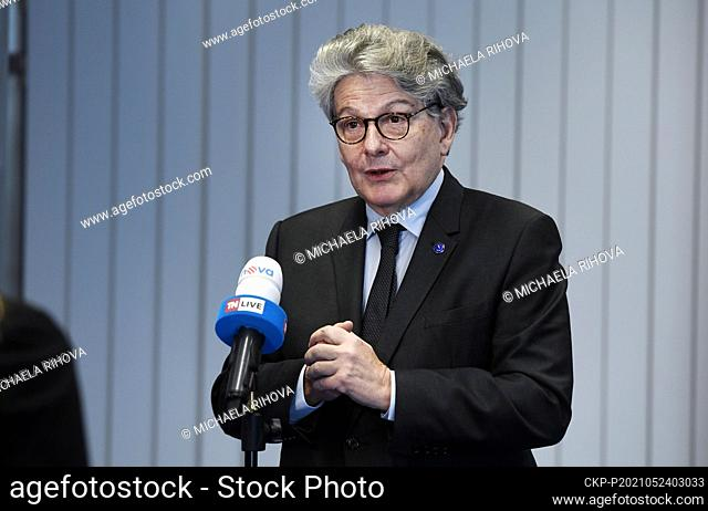 European Commissioner for Internal Market Thierry Breton speaks with journalists in The EU Agency for the Space Programme (EUSPA), on Monday, May 24, 2021