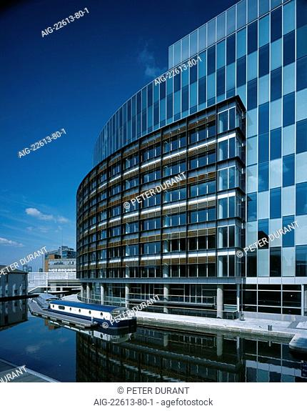 The Point, Paddington Basin London. South elevation with barge 01. Architect: Terry Farrell and Partners