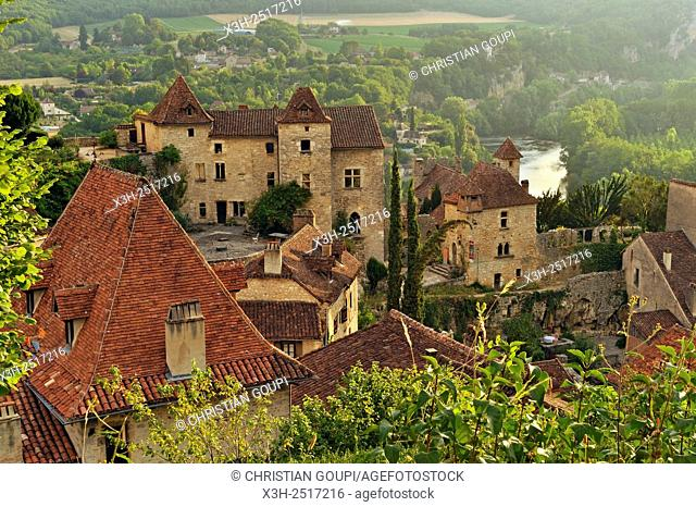 village of Saint-Cirq-Lapopie, one of the '' Plus Beaux Villages de France'' the most beautiful villages of France, overlooking the Lot River, Lot department