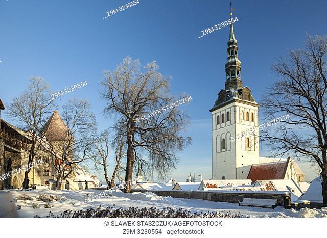 Winter morning in Tallinn old town, Estonia. St Nicholas church tower