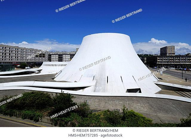 France, Seine Maritime, Le Havre, Downtown rebuilt by Auguste Perret listed as World Heritage by UNESCO, the cultural center called Volcano created by Oscar...
