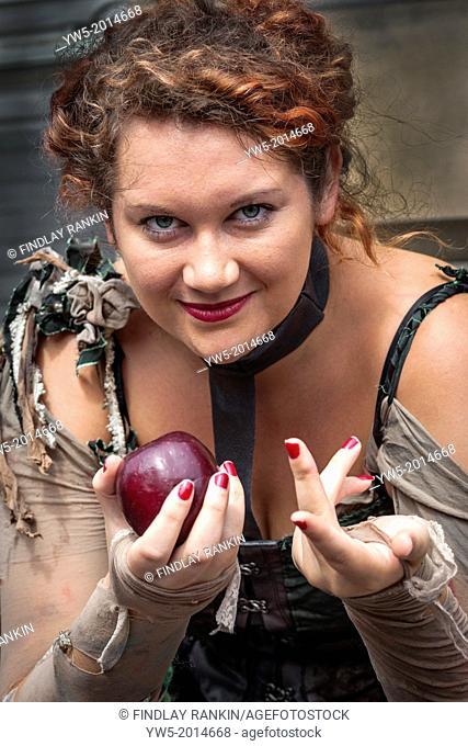 Young woman acting as'' Eve'' during the Edinburgh Fringe Festival, Scotland, great Britain, United Kingdom, UK