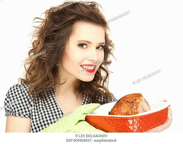 bright picture of lovely housewife with meat
