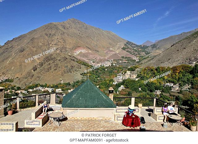 PANORAMA OVER THE BERBER VILLAGE OF IMLIL AND THE MOUNTAINS OF THE TOUBKAL NATIONAL PARK AS SEEN FROM THE TERRACE OF THE KASBAH DU TOUBKAL, HIGH ATLAS MOUNTAINS