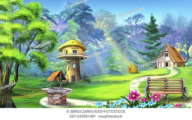 Digital painting of the landscape with magic house in the forest. With bench, well, trees and flowers