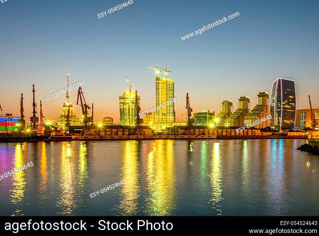 Night view of sea port in Baku Azerbaijan