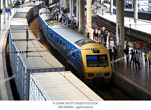 Malaysia, Melaka, Kuala Lumpur, Kampong Dollah, a local Commuter train arrives in Kuala Lumpur Railway Station Tesen Keretapi Kuala Lumpur