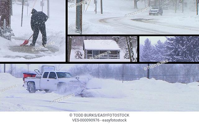 Winter snowstorm montage