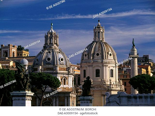 Domes of the Church of Our Lady of Loreto and the Church of the Most Holy Name of Mary at the Trajan Forum, Rome (UNESCO World Heritage List, 1980-1990), Lazio