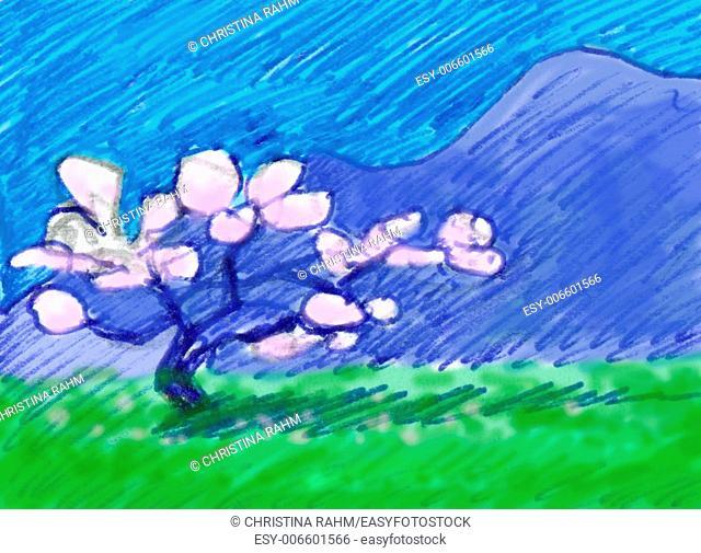 Almond tree, grass and mountains. Springtime