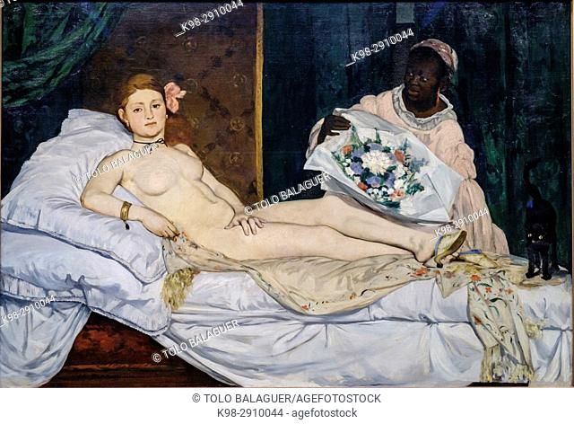 Edouard Manet (1832-1883),. Olympia,. 1863,. oil on canvas, Orsay Museum, Paris, France,Western Europe
