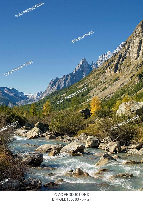 River and mountains in remote landscape