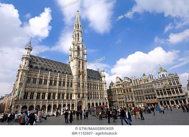 City Hall, Grand Place, Unesco World Heritage Site, Brussels, Brabant, Belgium, Europe