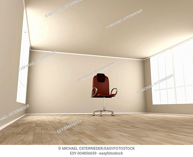 3D rendered Illustration  Office chair in a empty room