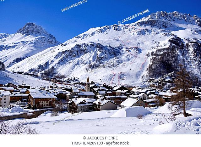 France, Savoie, Val d'Isere, criterium trace, Men's Events of the Alpine World Championships Combined on the Olympic flank of Bellevarde 2827 m