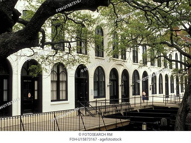Savannah, Georgia, Stoddard's Stores built in 1859 along Factor's Walk in Historic Savannah in the state of Georgia.