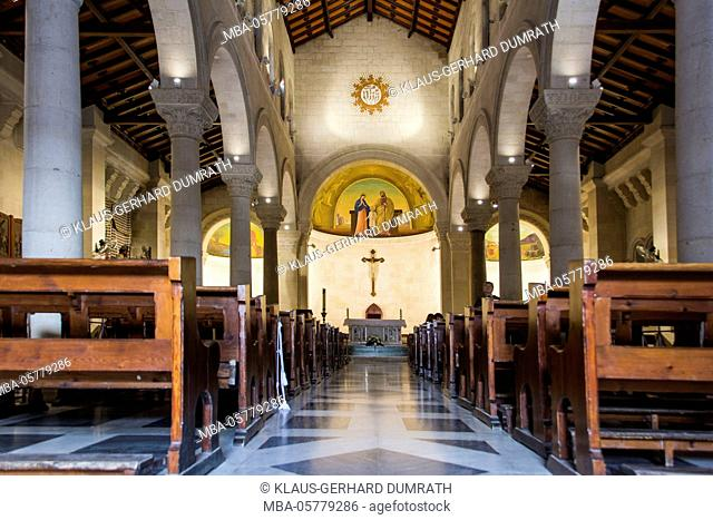 Israel, West Bank, Nazareth, St. Joseph's Church, interior, central nave, altar, religion