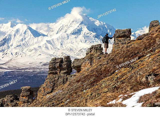 A hiker takes in the view of Mount Moffit and the Alaska Range while ascending Donnelly Dome; Alaska, United States of America