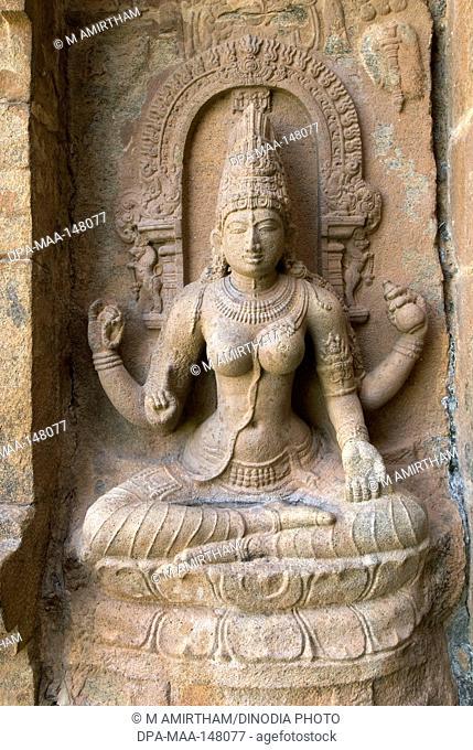 11th century Saraswati statue in Brihadishvara temple ; Gangaikondacholapuram ; Tamil Nadu ; India