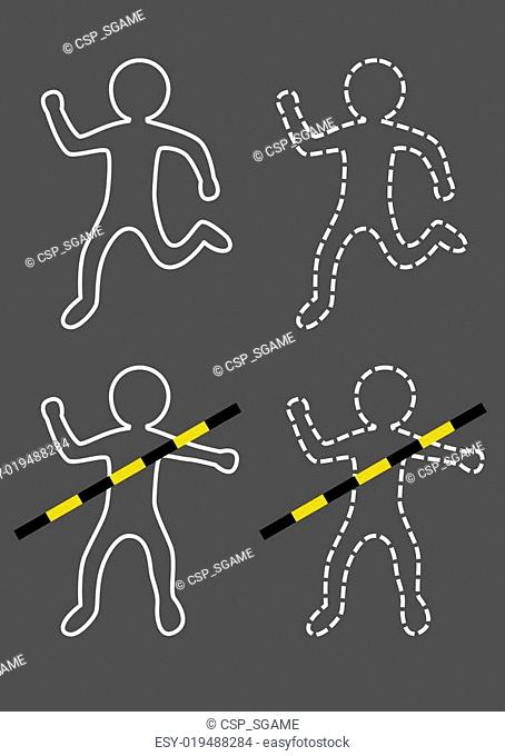 accident outline of man vector