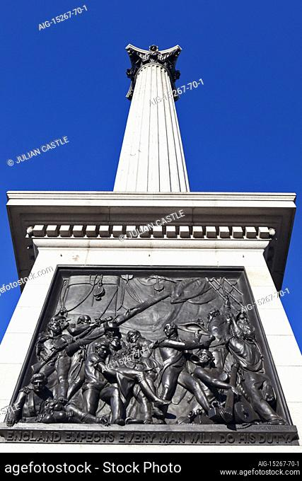 Bronze relief panel at the base of Nelson's Column depicts the death of Nelson at Trafalgar, Trafalgar Square, London, WC2