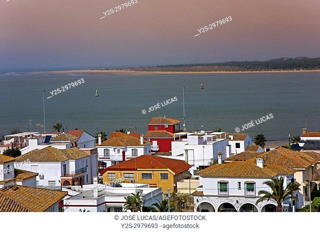 Mouth of the Guadalquivir river (in the background the Donana National Park), Sanlucar de Barrameda, Cadiz provincia, Region of Andalusia, Spain, Europe