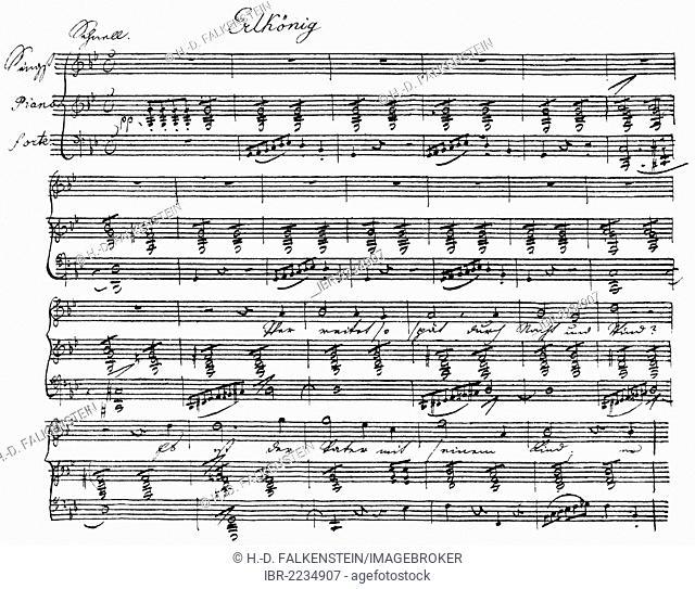 The Erl King, historic handwritten sheet music by Franz Peter Schubert