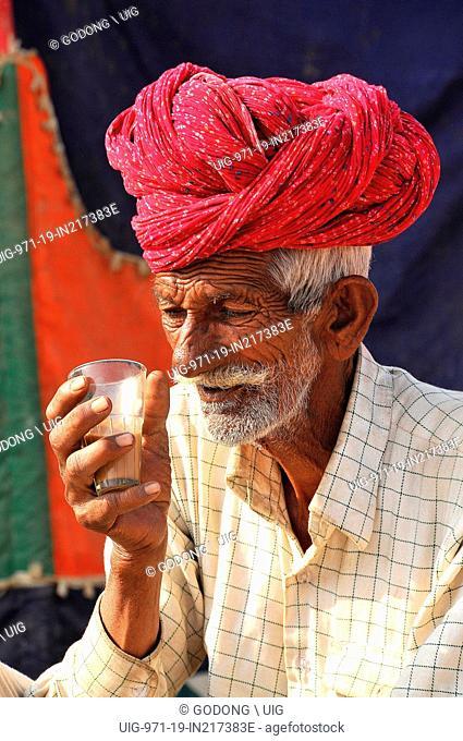 Rajasthani man drinking tea