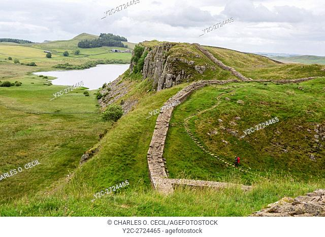 Northumberland, England, UK. Looking toward Peel Crags, Hadrian's Wall (Pennine Way) Footpath