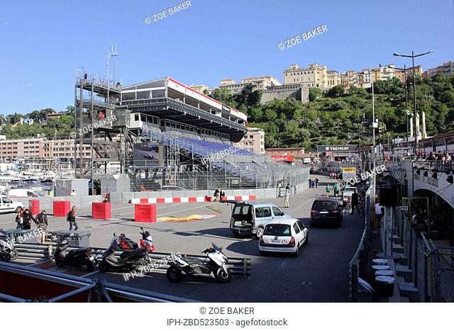 Monaco Grand Prix event time stand construction for the event. Zoe Baker