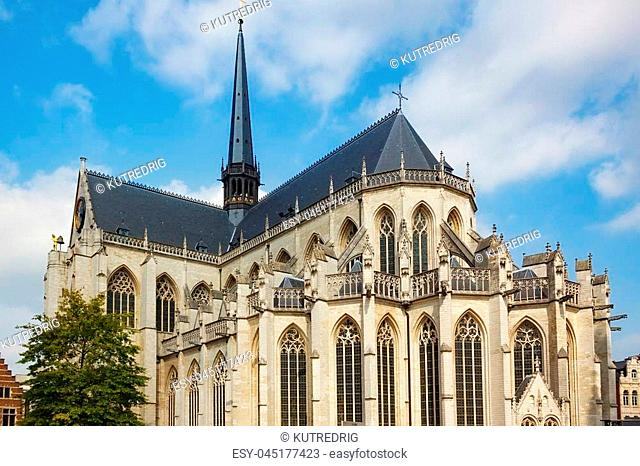 View of the Saint Peter's Church of Leuven, Flemish Brabant, Belgium. Built mainly in the 15th century in Brabantine Gothic style